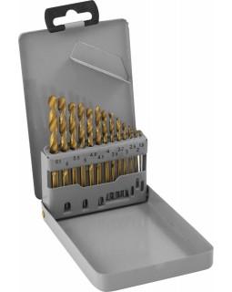 Набор спиральных сверл по металлу HSS TiN в металлическом кейсе, 13 предметов