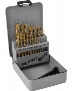 Набор спиральных сверл по металлу HSS TiN в металлическом кейсе, 19 предметов
