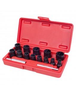 Набор торцевых головок для поврежденных гаек и болтов, 8-21 мм, кейс, 15 предметов МАСТАК 109-30015C