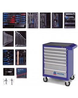 Набор инструментов в синей тележке, 204 предмета KING TONY 934-100AMB