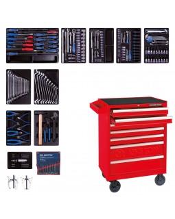 Набор инструментов в красной тележке, 204 предмета KING TONY 934-100MR