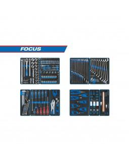 """Набор инструментов """"FOCUS"""" для тележки, 11 ложементов, 188 предметов KING TONY 934-188MRVD"""