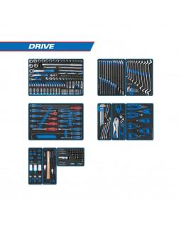 "Набор инструментов ""DRIVE"" для тележки, 10 ложементов, 251 предмет KING TONY 934-251MRVD"