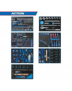 """Набор инструментов """"ACTION"""" для тележки, 15 ложементов, 327 предметов KING TONY 934-327MRV"""