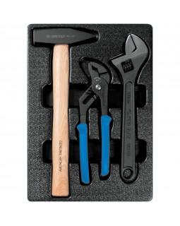 Набор переставные клещи, разводной ключ и молоток, ложемент, 3 предмета KING TONY 9-90103PP02