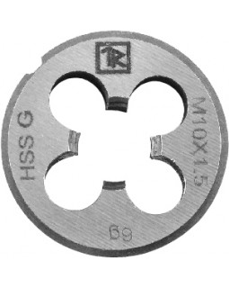 Плашка D-DRIVE круглая ручная с направляющей в наборе М4х0.7, HSS, Ф25х9 мм