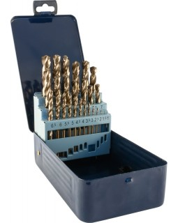 Набор спиральных сверл по металлу HSS Co в металлическом кейсе, d1.0-13.0 мм, 25 предметов