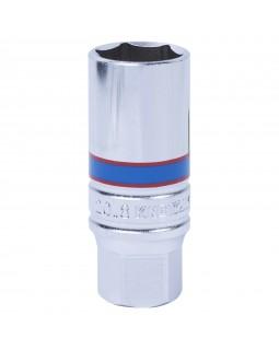 """Головка свечная шестигранная 3/8"""", 21 мм, L = 70 мм, резиновый фиксатор KING TONY 363521"""