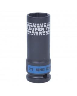 "Головка торцевая ударная глубокая 1/2"", 21 мм, тонкостенная KING TONY 441521M"