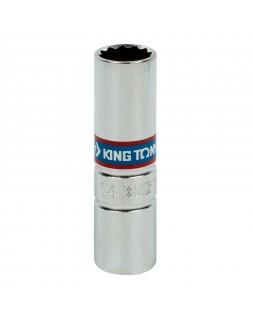 """Головка свечная двенадцатигранная 1/2"""", 14 мм, L = 70 мм, резиновый фиксатор KING TONY 463014RC"""