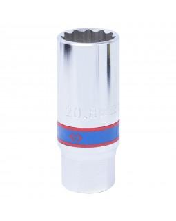 """Головка свечная двенадцатигранная 1/2"""", 21 мм, L = 70 мм, резиновый фиксатор KING TONY 463021R"""