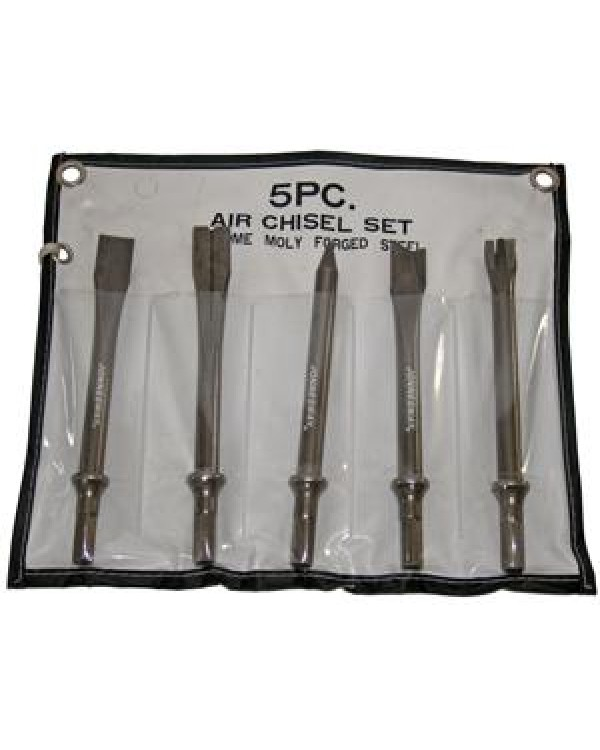 Комплект длинных зубил для пневматического молотка (JAH-6833H), 5 предметов