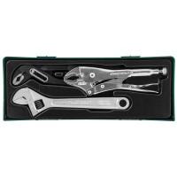 Набор инструмента: разводной ключ, ручные тиски, переставные клещи, 3 предмета (ложемент)