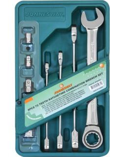 Набор комбинированных трещоточных ключей 10-19 мм. и адаптеров 8 предметов