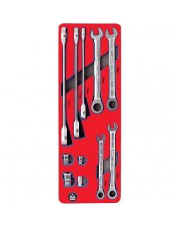 Набор комбинированных ключей с трещоткой, ложемент, 11 предметов МАСТАК 5-21311