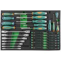 Набор стержневых отверток, отверток для точной механики и торцевых шарнирных ключей. 34 предмета в E