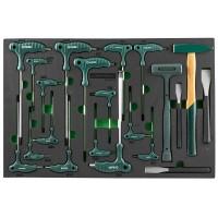Набор угловых отверток (торцевых ключей), шестигранных и TORX, молотков и зубил. 21 предмет в EVA л